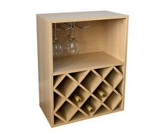 Gr8 Home 2008057 Weinregal aus Holz für 8 Flaschen, Diamant-Ablage, Vitrine mit hängenden Glashalterungen, Stangenhalter, Organizer-Einheit, Natur, M