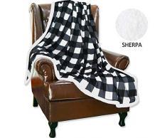 Hughapy Decke aus Flanell und Sherpa-Karo für Bett Sofa Couch Erwachsene Kinder 50 x 63 Inches kariert schwarz/weiß