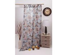 Mendola Home Textiles 10-237EUROPE-01 Schlaufenschal Europe 140 x 245 cm, blau / braun