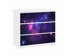 Apalis 91655 Möbelfolie für Ikea Malm Kommode Galaxie, größe 3 mal, 20 x 80 cm