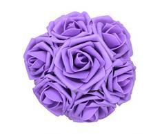 AnParty 50 Künstlichen Blume , Real Touch Schaumstoff-Rosen Dekoration DIY für Hochzeit Brautjungfer Bridal Bouquet Aufsteller Party Violett