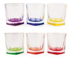 VILLA DESTE Home Cube Wasserglas mit Buntem Boden, aus Glas, 1 Stuck, 6