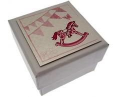 WHITE COTTON CARDS Schaukelpferd und Wimpelkette Mini Hochzeitsbox Geschenkbox, Pink