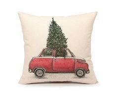 4TH Emotion Weihnachtsbaum und rot Auto Überwurf Kissen Cover Home Deko Kissen Fall 45,7 x 45,7 cm Baumwolle Leinen für Sofa (Vintage Truck)