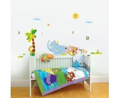 Walplus Elefant Tier Reihe Kinderzimmer Wand Aufkleber Papier Mauerkunst Sticker Kinder Dekoration