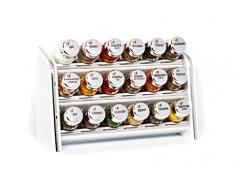 Gald Gewürzregal, Küchenregal für Gewürze und Kräuter, 18 Gläser, Holz, Weiß/glänzend, 30.5 x 20.5 x 10.5 cm