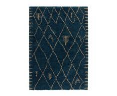 Lalee 347247202 Hochwertiger, moderner, Hochflor, Langflor, Designer Shaggy Teppich, 80 x 150 cm, blau / silber