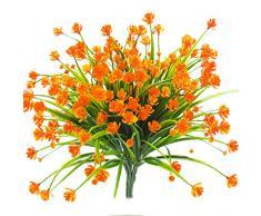 Künstliche Fake Blumen, 4 Bündel Outdoor UV-Beständig Greenery Sträucher Pflanzen Blumentopf für Drinnen Außen Aufhängen Home Garten Decor Orange