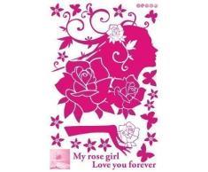 Walplus Wand Sticker Kunst Kinder Schlafzimmer Kinderzimmer Rosa Rosen Mädchen Dekoration My Rose Girl Love You Forever
