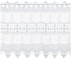 Plauener Spitze by Modespitze, Store Bistro Gardine Scheibengardine mit Stangendurchzug, hochwertige Stickerei, Höhe 45 cm, Breite 112 cm, Weiß