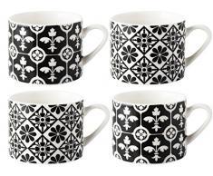 V & A Encaustic Fliesen gedrungene feines Porzellan Espresso Tassen, Keramik, Schwarz, 4-TLG.