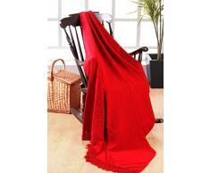 EliteHomeCollection Überwurf / Decke, 225 x 250 cm, 100 % indisches Polyester, Chenille, rot, Doppelbett