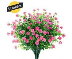 GREENRAIN Künstliche Blumen, für den Außenbereich, UV-beständig, kein Verblassen, künstliche Kunststoffpflanzen, Garten, Veranda, Fenster, Box Dekoration, 6 Stück 14 * 9 inch Rose