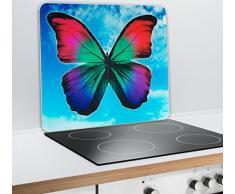 Wenko Multi-Platte Butterfly by Day für Glaskeramik Kochfelder, Schneidbrett, Gehärtetes Glas, Mehrfarbig 56 x 50 x 0.5 cm