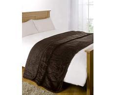 Luxus Kunstfell groß Mink Braun Fleece Überwurf über Sofa Bett Weiche Warme Decke, Chocolate Brown, Double - 150 x 200 cm