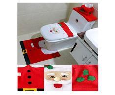 Garma 3-teiliges Weihnachts-Dekorations-Set mit Weihnachtsmann, Schneemann, Rentier, WC-Deckelbezug und Teppich Rot&Weißer Weihnachtsmann