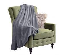 Eternal Moment Fleecedecke, super weiche Flanell-Fleecedecke, Luxus-Bettdecke, warme Plüschdecke für Bett, Couch, Reise Twin grau