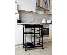 WENKO Küchenwagen Bon Appetit, mit Rollen und Glasplatte mit Motiv, ideal als Servierwagen oder Küchenregal einsetzbar, aus MDF, 67 x 86,5 x 35 cm, Schwarz