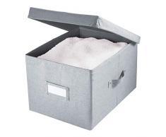 iDesign Codi Aufbewahrungsbox mit Deckel, große Ordnungsbox aus Polyester, grau