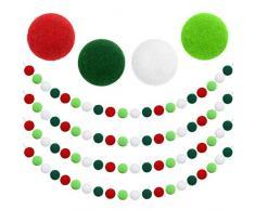 Aneco 4 Stück Weihnachtsgirlande aus Filz, Weihnachtsgirlande, Dekoration 80 Bommelkugeln zum Aufhängen, Dekoration für Baum, Kamin und Wand Farbe C