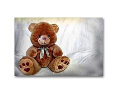 Calvendo Premium Textil-Leinwand 90 cm x 60 cm quer Teddybär | Wandbild, Bild auf Keilrahmen, Fertigbild auf echter Leinwand, Leinwanddruck: Kuscheltier Hobbys Hobbys