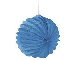 Rayher 87106374 Papier Lampion, inklusive Schnur zum Aufhängen, 22cm ø, azurblau, Partydekoration