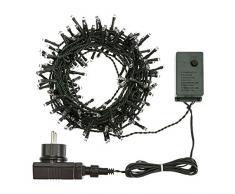 XMASKING LED-Lichterkette 7,5 m, 180 LEDs blau, mit Lichtspielen, grünes Kabel, Weihnachtsbeleuchtung, Weihnachtsbaumbeleuchtung, Weihnachtslichterkette