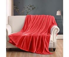 Ihoming Luxuriöse Fleece-Decke für Bett und Couch-Überwurf, 350 g/m², superweich, kuschelig, leicht King(108x90) rot