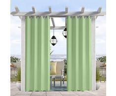 Pro Space wasser- und windabweisender Outdoor-Vorhang, thermoisolierte Ösen oben und unten, Sichtschutz für Terrasse, Veranda, Pavillon, Cabana, 127 cm B x 305 cm L, Salbeigrün