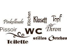 Graz Design 650160_50_080 Wandtattoo Deko fr Bad Sprche Wand Aufkleber fr Badezimmer Toilette WC stilles rtchen Dekoration 104x50cm Braun