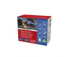 Konstsmide, 3724-800, LED Lichterkette, mit an/aus Schalter und 6h Timer, mit 8 Funktionen und Memoryfunktion, 40 bernsteinfarbene Dioden, batteriebetrieben, Außen (IP44), schwarzes Kabel, schwarze Box