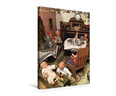 Premium Textil-Leinwand 50 x 75 cm Hoch-Format Kinderspiel im Esszimmer | Wandbild, HD-Bild auf Keilrahmen, Fertigbild auf hochwertigem Vlies, Leinwanddruck von WEIBKIWI