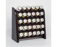 Gald Gewürzregal, Küchenregal für Gewürze und Kräuter, 30 Gläser, Holz, Venge (schwarz)/matt, 31.5 x 34.5 x 14.5 cm
