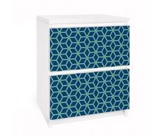 Apalis 91194 Möbelfolie für Ikea Malm Kommode - Selbstklebe Würfelmuster, größe 2 mal, 20 x 40 cm, blau