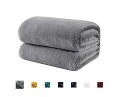 Hboemde Fleecedecke, leicht, weich, kuschelig, Bettdecke für Couch, Mikrofaser, Flanelldecke King grau