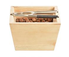 Esschert Design Holzschale mit Nussknacker aus Birkenholz und verzinktem Metall,17,5 x 17,5 x 11,2 cm