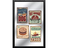 empireposter - American Legends - Fast Food - Größe (cm), ca. 20x30 - Bedruckter Spiegel, NEU - Beschreibung: - Bedruckter Wandspiegel mit schwarzem Kunststoffrahmen in Holzoptik -