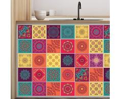 Walplus wt1009-colourful Mandala Fliesen Wand stickers-10Â cm x 10Â cm-24Â Pcs, Gemischt, 10Â cmx10cmx0.02Â cm
