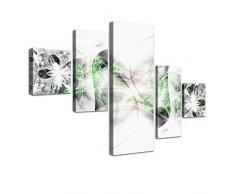 "LANA KK - Leinwandbild Stars Grün"" abstraktes Design auf Echtholz-Keilrahmen – Fotoleinwand-Kunstdruck in grün, fünfteilig & fertig gerahmt in 160x100cm"