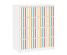 Apalis 91304 Möbelfolie für Ikea Malm Kommode - selbstklebende nummer UL750 Stripes, größe 4 mal, 20 x 80 cm