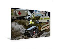 Premium Textil-Leinwand 120 x 80 cm Quer-Format Spielzeug Sanitäts - Transporter | Wandbild, HD-Bild auf Keilrahmen, Fertigbild auf hochwertigem Vlies, Leinwanddruck von Ingo Laue