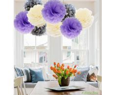A LIITTLE TREE A Little Tree 9/12 Stück gemischte Seidenpapier-Pompons zum Aufhängen, Girlande, Hochzeit, Party-Dekoration, von (Exquisite Purple Shade), 20,3 cm + 25,4 cm