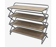 Better & Best Klappregal aus Naturstahl, Maße 87 x 31,5 x 73 cm, Tablett: 82 x 30, Material: Holz/Metall, Topo, Einheitsgröße