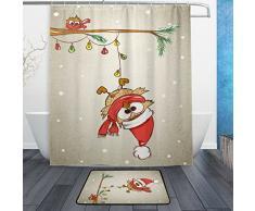 Eule ANIMAL Wasserdicht Polyester Stoff Vorhang für die Dusche (152,4 x 182,9 cm) Set mit 12 Haken und Bad-Teppiche Teppiche (59,9 x 39,9 cm) für Badezimmer – Set von 2, Polyester-Mischgewebe, Multi2, 60 x 72 Curtain & 23.6 x 15.7 Mat