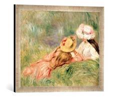 Gerahmtes Bild von Pierre Auguste Renoir Young Girls on The River Bank, Kunstdruck im hochwertigen handgefertigten Bilder-Rahmen, 60x40 cm, Silber Raya