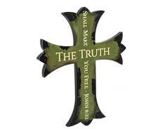Spirit & Truth Wandtafel mit Kreuz-Motiv Die Wahrheit Wird Sie freilassen, John 8:32, tiefes Waschbecken, Kratzfest, glänzende Oberfläche, Grün, 14,75 x 17,75 x 0,75 cm