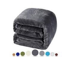 Balichun Weiche Fleecedecke, Winter, warm, gebürstetes Flanell, für alle Jahreszeiten, leicht, Thermo-Überwurf für Bett, Sofa oder Couch King dunkelgrau