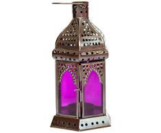 Insideretail 100022-PURPLE-2 Marokkanischen Stil Laterne mit einem kupfer Antik Finish, 11 x 10 x 19 cm, 2-er Set, lila Glas