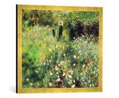 Gerahmtes Bild von Auguste Renoir Frau mit Sonnenschirm in einem Garten, Kunstdruck im hochwertigen handgefertigten Bilder-Rahmen, 70x50 cm, Gold Raya