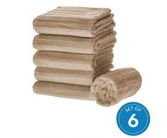 iDesign 6er-Set Handtücher, kleines Handtuch mit Streifenstruktur aus Baumwolle, weiches und saugfähiges Handtuch Set mit Aufhänger für Waschbecken und Gäste-WC, beige